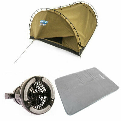 Kings Double Swag Big Daddy Deluxe, Self Inflating Mattres, 2in1 LED Light & Fan