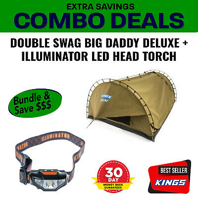 Adventure Kings Double Swag Big Daddy Deluxe + Illuminator LED Head Torch