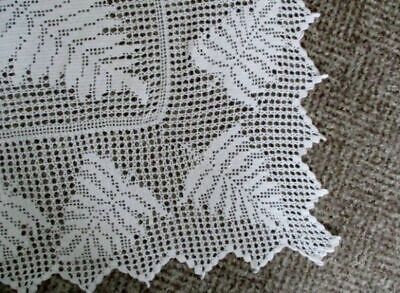 Antique Hand Crochet Edge For Tablecloth-Fern Leaf Design