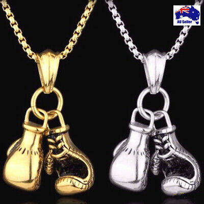 Mens Belcher Chain Gold or Silver Plated Boxing Gloves Boys Necklace Pendant AU