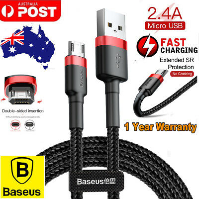 Baseus 2.4A Micro USB 2.0 Fast Charge Charging USB Data Sync Nylon Cable Cord