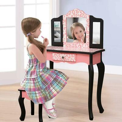 super popular 83c8a a1abf VANITY TABLE SET Makeup Dressing Table Kids Girls Stool Mirror with Drawer