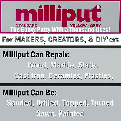 Milliput YELLOW GREY Standard Epoxy Putty Sculpting, General Repairs, DIY