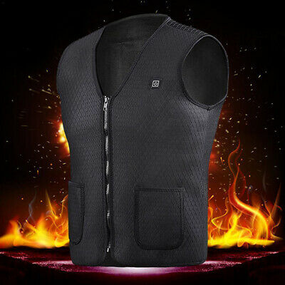 Unisex Electric Battery Heated Heating Vest Winter Warm-Up Jacket USB Pocket AU!