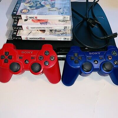 Sony PlayStation 3 Slim 320GB Charcoal Black Console With 2 Controllers, 3 Games