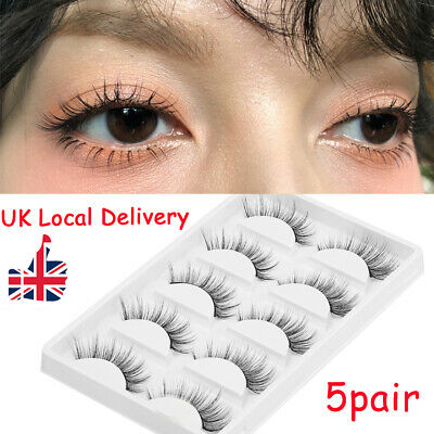 ❤5 Pair 3D Mink False Eyelashes Wispy Cross Long Thick Soft Fake Eye Lashes UK