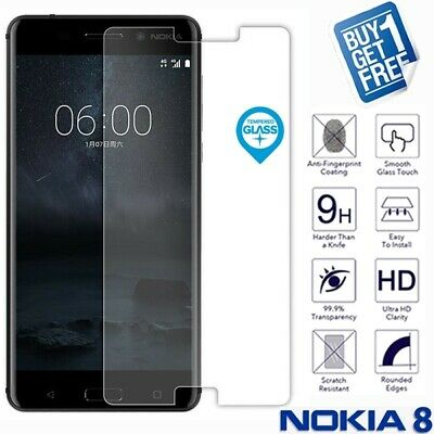 2 x For Nokia 8 Geniune Tempered Glass Screen 9H Protector Film Cover Clear