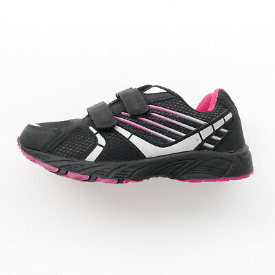 Girls Black & Pink Low Top Trainers Shoes By 'A' Size Kids 11 12 13