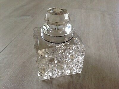 Antique Cut Glass Ink Well With 1909 London Hallmarked Silver Collar