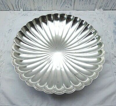 Art Deco silver plated dish, Elkington & Co, silver plate fluted fruit bowl