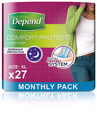 Depend Comfort Protect Incontinence Pants for Women, Extra-Large - 27 Pants