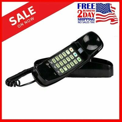 NEW.AT&T Telephone Push Button Corded Desk Wall Mount Home Trimline Phone Black