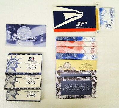 Lot of 10 U.S. Mint and Proof Sets-(3) Proof Sets & (7) Mint Uncirculated Sets