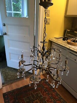 Vintage Antique 8 Arm Lamp Glass Crystal Prism Brass Chandelier Light Fixture