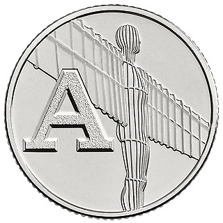 A-Z (2019) ALPHABET 10p COIN - LETTER (A) - ANGEL OF THE NORTH (CIRCULATED)