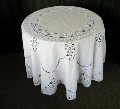 "ROUND TABLECLOTH-TAPE LACE & HAND EMBROIDERY-WHITE-64""dia."