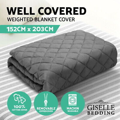 Cotton Weighted Blanket 152x203cm Dark Grey Comfy Cotton Bedding Zipped Cover