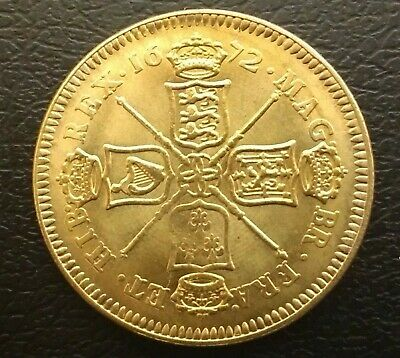 Nice Rare Charles Ii 1672 22 Ct Gold Plated Five Guineas In Near Extremely Fine