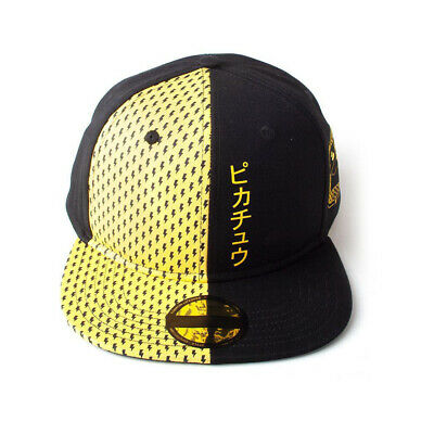 NEW! Pokemon Block Pikachu Snapback Baseball Cap Unisex Black/Yellow SB500130POK