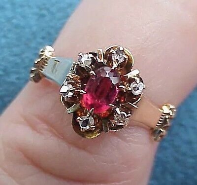 Superb Antique Victorian Gothic 14Kt Gold Rose Cut Diamond & Ruby 4 1/2 Ring