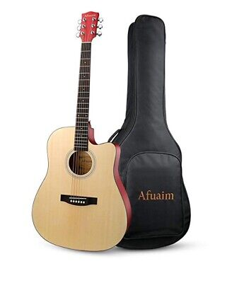 Afuaim 41 Inch Full Size Cutaway 6 Steel String Spruce Beginner Acoustic Guitar