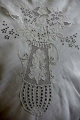 "Exquisite antique white Irish linen hand embroidered banquet tablecloth 92"" long"