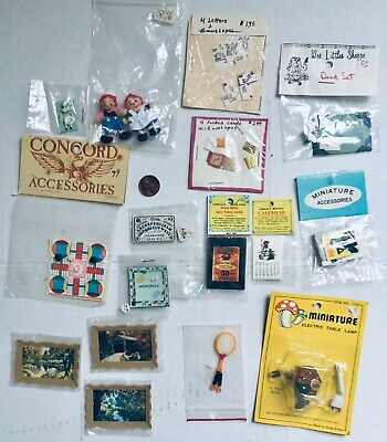 lot of Vtg Dollhouse Accessories New Miniatures Toys Dolls Light Games Paintings