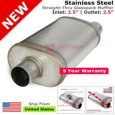 Stainless Steel Straight-Thru Race Muffler 3 inches Offset In//Center Out 200139