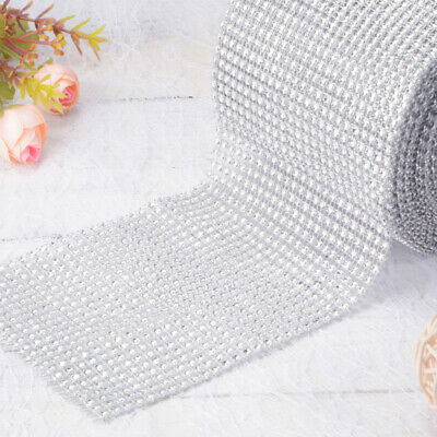 10 Yards Diamante Rhinestone Mesh Ribbon Decoration Roll + Measuring Tape FA179