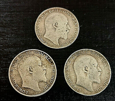 3 King Edward VII Solid Silver Florin Coins 2 Shillings 1905 1906 1907 1908 1909