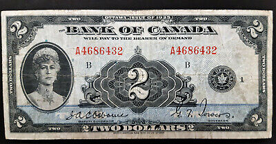 1935 Bank Of Canada 2 Dollar Note