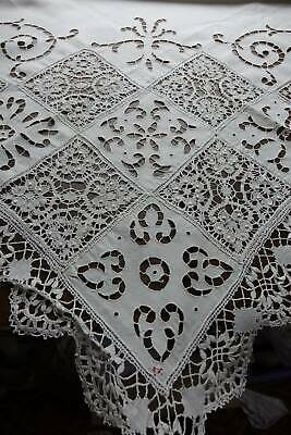 Stunning antique white Irish linen tablecloth - cutwork embroidery & bobbin lace