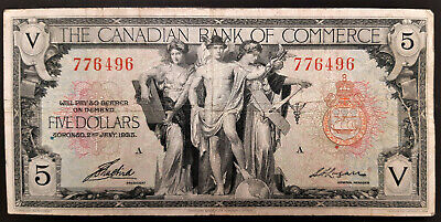 1935 Canadian Bank Of Commerce 5 Dollar Note