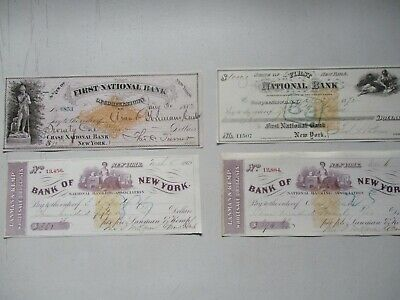 1868-83 (4) Cooperstown,New York and others GRAPHIC (SIGNATURES) Checks lot!