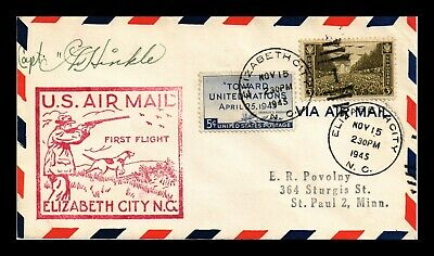 Dr Jim Stamps Signed Us Elizabeth City First Flight Air Mail Cover 1945