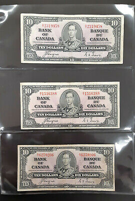 1937 Bank Of Canada Bilingual 10 Dollar Notes (Lot Of 3)