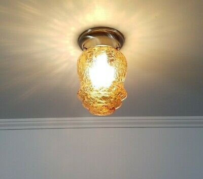 1930s Vintage Amber Crackle Glass Ceiling LIght Fixture Antique Brass Finish
