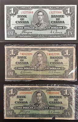 1937 Bank Of Canada Bilingual 1 Dollar Notes (Lot Of 3)