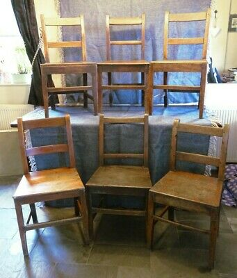 Set six late Georgian fruitwood chairs. Harlequin set of 6, early 19th Century