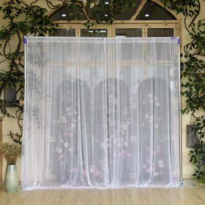 2 Pack Wedding Stage Decor Backdrop Party Sheer Curtain Drapes No Lamp White