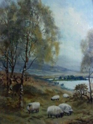 Antique C W MIDDLETON Oil Painting on Canvas PASTORAL SHEEP Framed