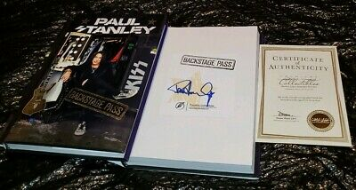 PAUL STANLEY SIGNED BACKSTAGE PASS NEW HARDCOVER KISS BOOK & 8x10 MSG 2009 PHOTO