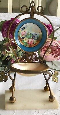 Late 19thC Palais Royal fob watch stand, MOP, Porcelain & Marble. A beaut!