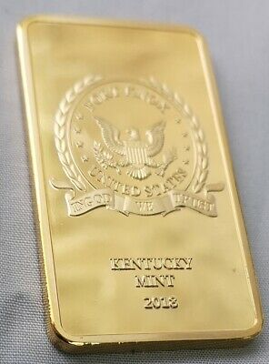Fort Knox Gold Bar Solid Gold Layered Donald Trump Autograph In God we Trust USA