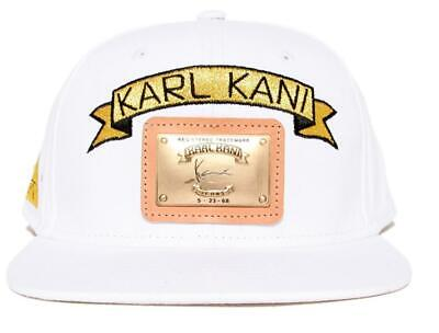 best service 57460 b8b8f KARL KANI GOLD PLATE SNAPBACK HAT MENS WHITE EMBROIDERED 90s FASHION CAP