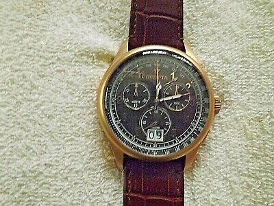 Invicta Vintage Chrono 10760 Brown Dial, Goldtone Case, Brown Leather Band Watch