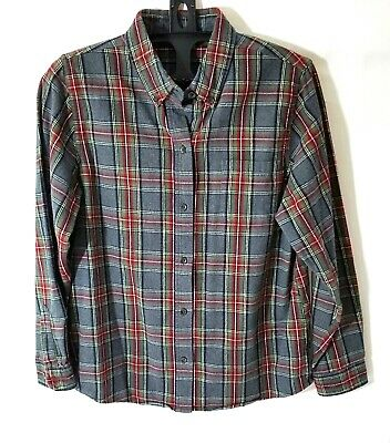 f5ae509907e LL Bean Women's Flannel Cotton Button-Down Long Sleeve Plaid Shirt, Gray,  Reg