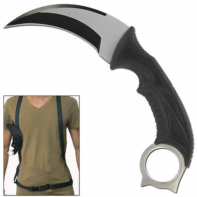 CSGO Silver Back Fixed Blade Survival Karambit Video Game Knife