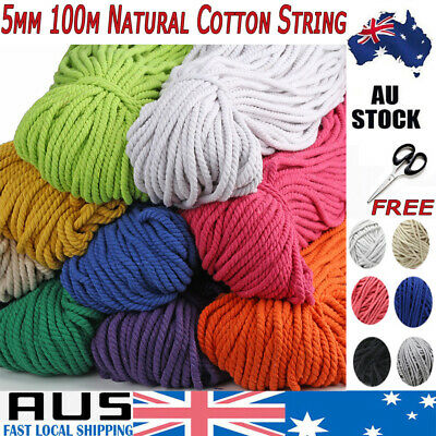 NEW 5mm 100m Natural Cotton Craft Macrame Artisan Rope Craft String Twisted Cord