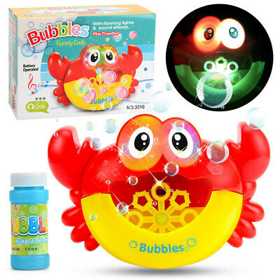 Crab Automatic Bubble Maker Machine Toy Blowing Soap Bubbles w/Solution for Kids